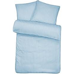 Luxuriöse Damast Bettwäsche in exklusiver Hotelqualität 155 x 200 cm Hellblau Blau aus 100 % Baumwolle für besten Schlafkomfort – Hotel Bettzeug Set mit Kopfkissenbezug und edlen Damast-Streifen