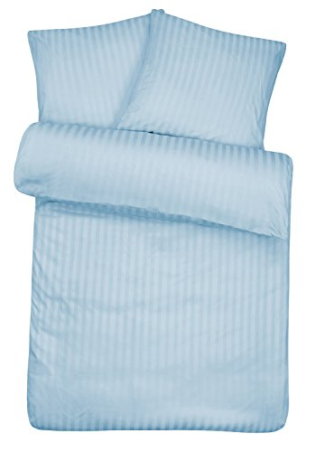 Luxuriöse Damast Bettwäsche in exklusiver Hotelqualität 155 x 220 cm Hellblau Blau aus 100 % Baumwolle für besten Schlafkomfort - Hotel Bettzeug Set mit Kopfkissenbezug und edlen Damast-Streifen -