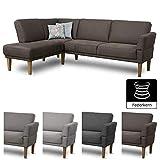 CAVADORE Eckbank Femarn mit Federkern und Verstellbarer Armlehne/Sitzecke für Küche oder Esszimmer / 254 x 98 x 187 cm/Mikrofaser in Lederoptik braun