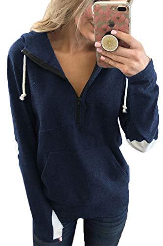 YACUN Damen Hoodies Sweatshirts Ellenbogen Patch Farbe Block /2 Zip Pullover Tops Marine XL