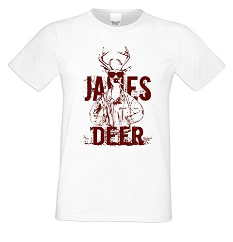 James Deer ... Sprüche-Fun-Hirsch-T-Shirt für Herren Freizeit Volksfest Oktoberfest Tracht Outfit - Geschenk Männer Farbe: weiss Weiß