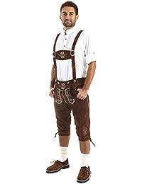 Almbock Trachtenlederhose Herren Kniebund - Original bayerische Lederhose Herren Tracht - Trachtenhose Oktoberfest in vielen Farben von Gr. 46-60