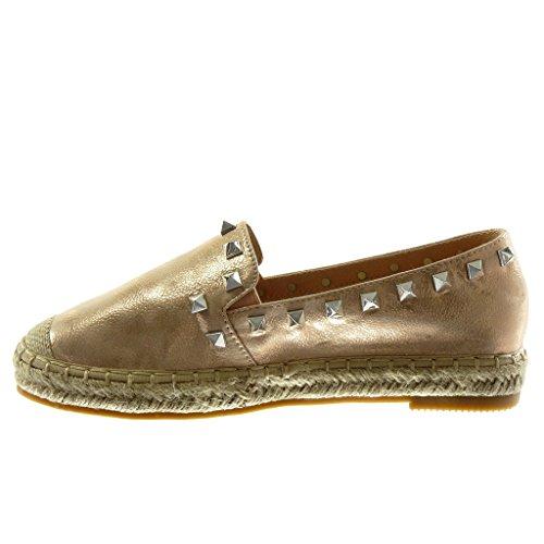 Angkorly Damen Schuhe Espadrilles - Slip-On - Nieten - Besetzt - Seil - genarbtem Blockabsatz 2.5 cm Champagner