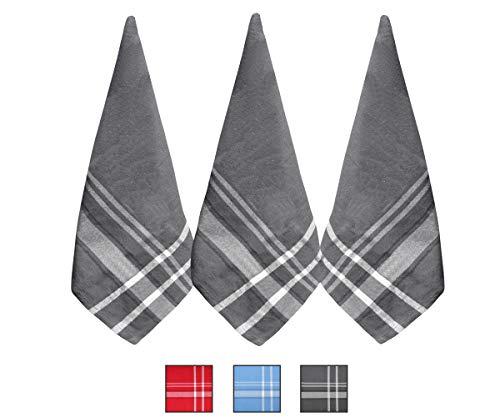Strofinacci - Asciugamani in cotone - Asciugamani da cucina in cotone grigio - Asciugamano da tè in cotone 100% - Set di 3 (strofinaccio (18 x 28), striscia francese grigio)