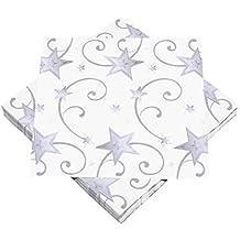 HEKU: 100 Servietten mit Motiv, 33x33cm, 3-lagig, Sterne weiß/silber