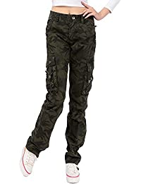246ae7c07 OCHENTA Mujeres Multi-Bolsillo de Camuflaje Pantalones de Ocio de Pierna  Ancha Etiqueta 28-