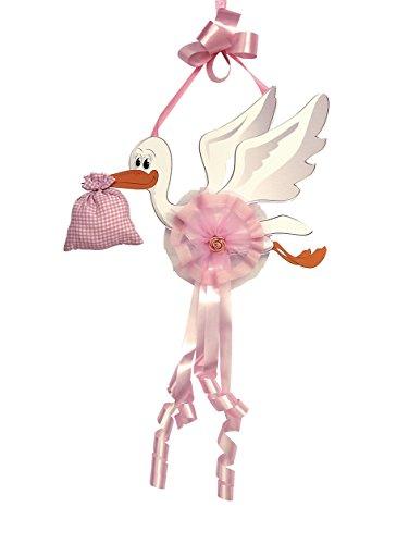 Babysanity fiocco nascita neonata a forma di cicogna varie misura per la nascita del tuo bambina (media rosa)