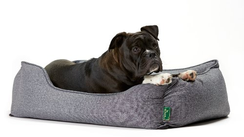 Hunter 61429 Hundesofa Boston, S, Aussenfläche – 67 x 55 x 20 cm, Innenkissen – 52 x 42 cm, grau - 3