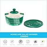 HomeCare Stylish Plastic Vegetables & Salad Spinner Cleaner Dryer with Multi-Functioning Rotating Handle Attached Lid and Bowl Container - BPA Free