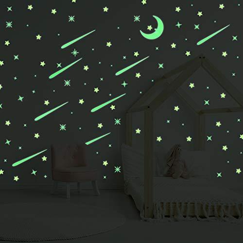 231 Stücke Glühen in Dunkel Aufkleber Mond und Stern Leuchtende Wandtattoos 3D Decken Aufkleber für Kinderzimmer Dekoration Party Lieferungen (Glühen In Den Dunklen Sternen)