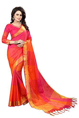 PerfectBlue Women's Saree with Blouse Piece (Zikat_BigZik_PinkFanta_Free Size)