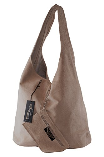 BORDERLINE - 100% Made in Italy - Borsa Sacca da Donna Sfoderata in Vero Camoscio - SARA Taupe