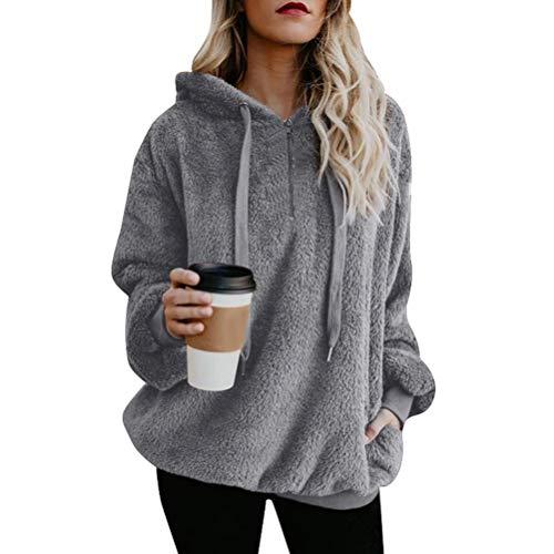 Minetom Damen Kapuzenpullover Sweatjacke Hoodie Sweatshirt Zipper Hoodies Sweatshirt Oberteil Pullover Grau DE 44