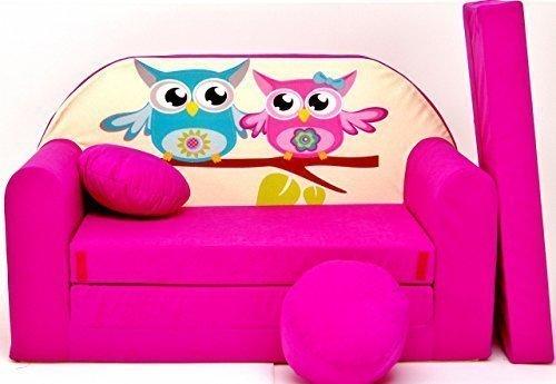 Kinder Sofabett + Gratis Polsterhocker und Kissen Kindermöbel Set - H30