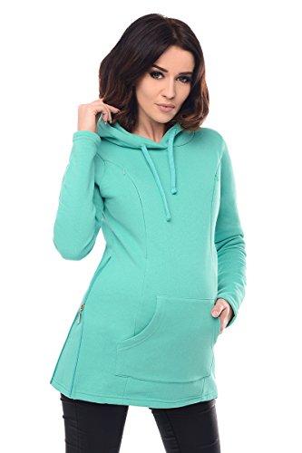 Purpless Maternity 2in1 Nursing Hoodie Pregnancy Sweatshirt Breastfeeding Top 9050 (12, Mint)