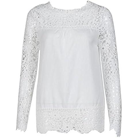 Blusa,✽Internet✽ Manera de las mujeres de manga larga camisa ocasional de la blusa del cordón flojo Tops (Blanco, XL)