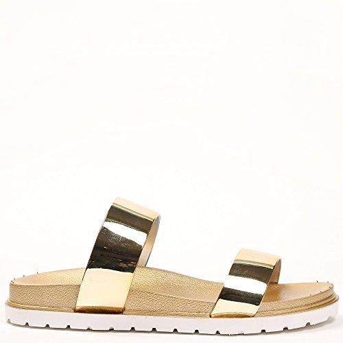 Ideal Shoes Nu-Pieds avec Doubles Lanières Effet Vernis Felicina Doree