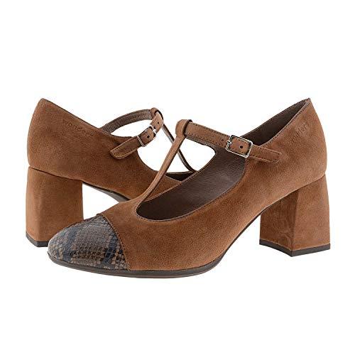 Wonders I-7701 Zapatos Piel Tacón Forrado Plantilla Acolchada Talla: 36 Color: Cuero