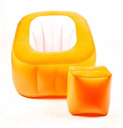 Intex aufblasbarer Sessel mit Hocker weiss orange NEU