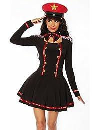 Zauberhaftes Marine-Kostüm in schwarz/Rot/Weiß, Fasching Mottoparty, Gr. S, M, L