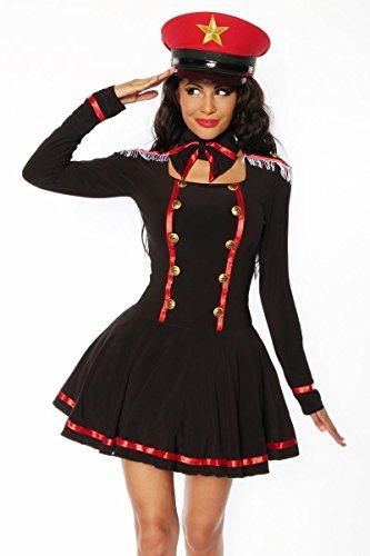 Marine Kostüm (Zauberhaftes Marine-Kostüm in schwarz/Rot/Weiß, Fasching Mottoparty, Gr. S, M, L, Größe)