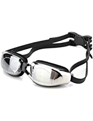 Swim Goggles No Leaking Clear-UV Protection, Anti-Fog, Mirror Coated Lens Adjustable Swimming Goggles with Protection Case & Ear Plugs & Nose Clip