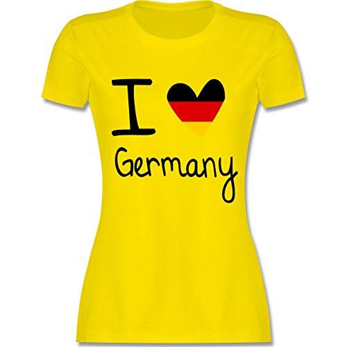 EM 2016 - Frankreich - I love Germany - tailliertes Premium T-Shirt mit Rundhalsausschnitt für Damen Lemon Gelb