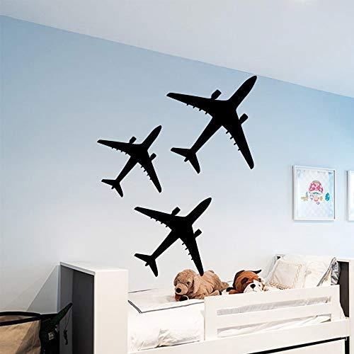 WSLIUXU Neue Flugzeuge selbstklebende selbstklebende Vinyl Wandaufkleber Kinderzimmer Dekoration Hintergrund Wandkunst Aufkleber Tapete Tapete Hausgarten Wandaufkleber Gold M 30 cm X 37 cm