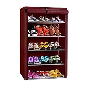 Ebee 5 Shelves Shoe Cabinet (Maroon)