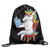 KCOUU Sac à Dos étanche avec Cordon de Serrage pour Homme et Femme Gym école Voyage Taille Unique Unicorn Read A Magical Story Black