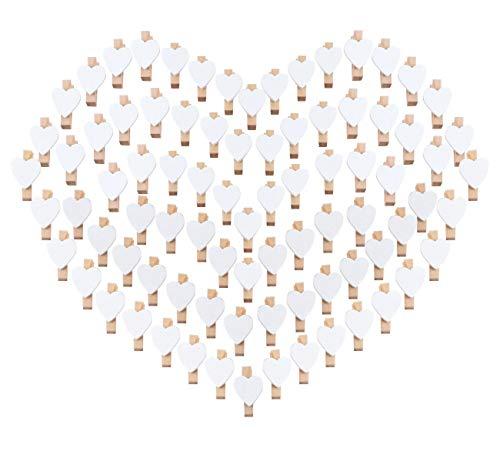 100 Herz Wäscheklammer Holz mini klein Absofine Holzklammern 3,5cm Foto Handwerk Clips Deko Patchwork Klammern Dekoklammern Holzwäscheklammern Zierklammern in weiss -