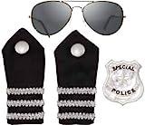 Zubehör Set zum Polizist Kostüm Karneval Fasching mit Brille Emblem