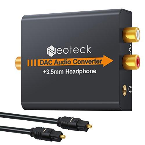 Neoteck DAC Convertidor de Audio Digital a Analágico Coaxial Óptico Toslink Señal a Adaptador de Audio Analágico RCA con Salida de Jack de 3,5 mm para HDTV BLU Ray DVD Sky HD Xbox 360 PS3