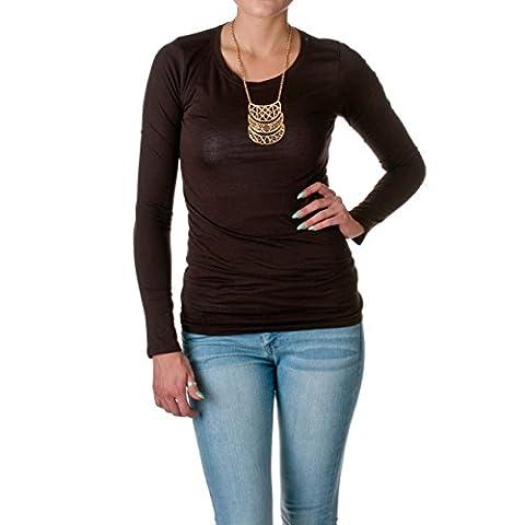 Active Products T-shirt col ras du cou à manches longues T-shirt en coton - marron - Small