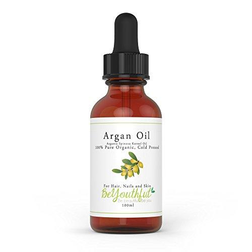 Huile d'Argan 100ml, 100% pure huile organique marocaine pressée à froid pour le visage, les cheveux, la peau, les ongles.