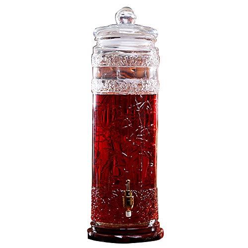 Tienda Elegante Botella De Vidrio Espumoso Dispensador De Bebidas Fruit Enzyme Barrel con Grifo De Cobre con Base De Madera Tarro De Vidrio Empapado