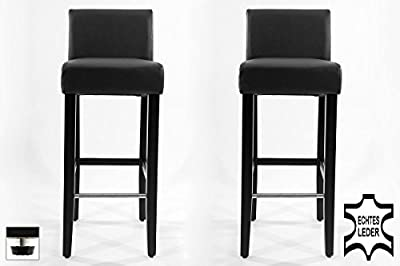 2x Barstools wood black REAL LEATHER adjustable floor glides upholstery - cheap UK light store.