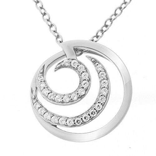 Orphelia Damen-Anhänger mit Kette 925 Silber rhodiniert Zirkonia weiß Brillantschliff - ZH-7084