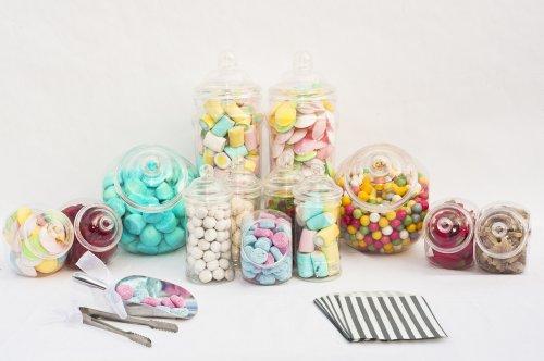 x10 vuoti vasetti di plastica , Pinze x3 , x2 scoop , x100 strisce di carta Borse Grigio per Candy buffet , matrimoni o partito