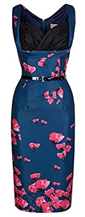 Lindy Bop 'Vanessa' Vintage 50's Stunning Wiggle Pin Up Party Dress (18, Midnight Blue)