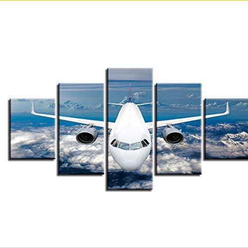 RurengPosterWandkunstHd Gedruckt 5 Stücke Flugzeug Blauer Himmel Weiße Wolke Landschaftsbilder Modulare Leinwand Bilder Dekor Wohnzimmer