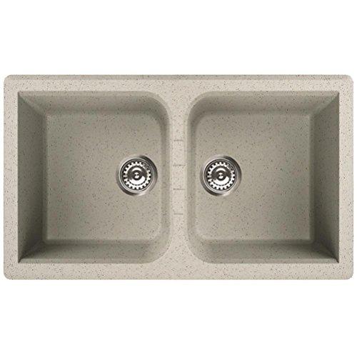 Waschbecken Granit Spüle 2 Becken / Serie VENICE 450 / italienische Qualitätsmarke ELLECI / Einbeckenspüle passend für Unterschränke ab 80 cm Breite / Material GRANITEK / Farbe BIANCO TITANO / HELL TITAN GRAU / MADE IN ITALY