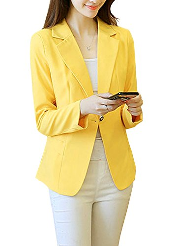 Aisuper Womens One Button Slim Fitted Blazer Jacket Suits Coat Outerwear X-Large Yellow