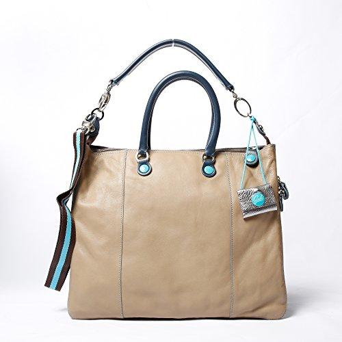 Shopping trasformabile e estendibile Gabs due manici a mano e manico a spalla in pelle blu e beige