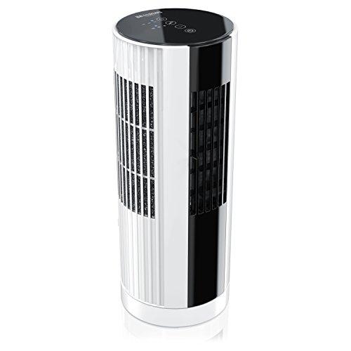 Brandson ventilatore a torre da 30,5cm | ventilatore compatto a colonna | 16w | 3 livelli di velocità (low/ medium/ high) + funzione timer + oscillazione 30° (attivabile) | 4x tasti touch con led di stato | filtro antipolvere | bianco / nero
