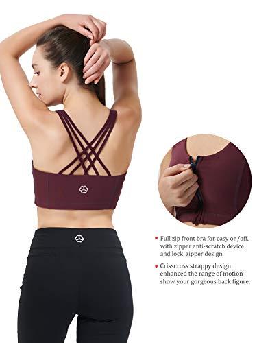 Zeronic Damen Sport-BH mit Reißverschluss vorne, mittelgroß, stoßfest, mit Riemen, für Workout - Rot - X-Small - 5