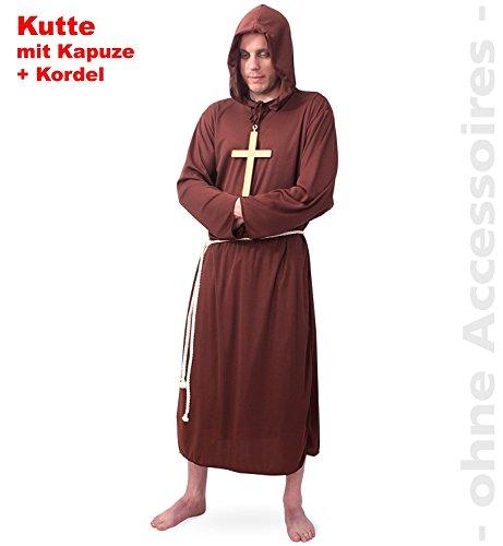 Hochwertiges Mönchskostüm für Herren | 2-teiliges Priester-Gewand bestehend aus Kapuze und Gürtel | Robe | Mönch-Kostüm | Mittelalterliches Faschingskostüm | (Rio Karneval Mottoparty Kostüme)