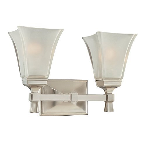 Hudson Valley Lighting Kirkland 2-Light Vanity Light - Satin Nickel Finish with Clear/Frosted Glass Shade by Hudson Valley Lighting