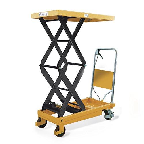 Protaurus Hubtischwagen mit Doppelschere TAUROLIFTER, Traglast 350 kg, Plattform 910x500 mm, Hubhöhe 1300 mm, gelb