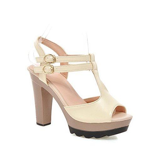 VogueZone009 Damen Hoher Absatz Rein Weiches Material Schnalle Sandalen Mit Hohem Absatz Cremefarben